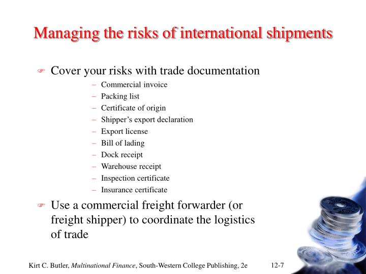 Managing the risks of international shipments