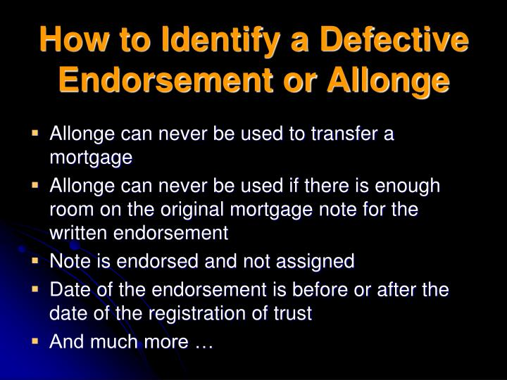 How to Identify a Defective Endorsement or Allonge
