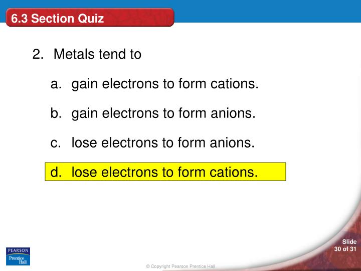 6.3 Section Quiz