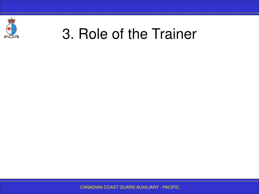 3. Role of the Trainer