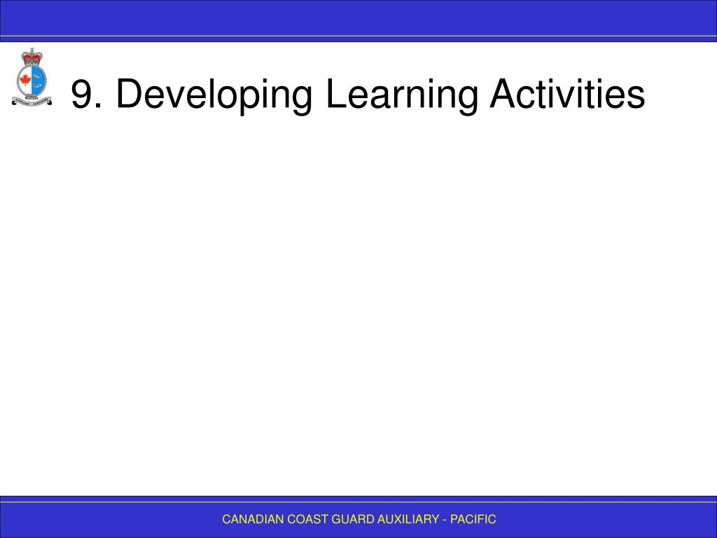 9. Developing Learning Activities