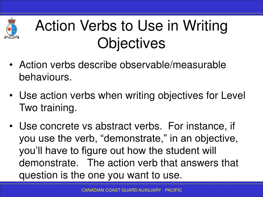 Action Verbs to Use in Writing Objectives