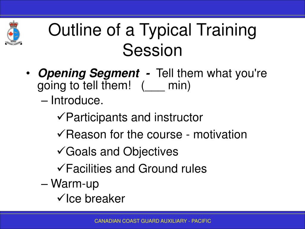 Outline of a Typical Training Session