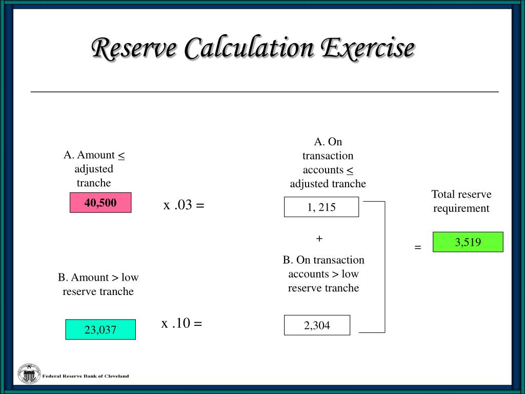 Reserve Calculation Exercise
