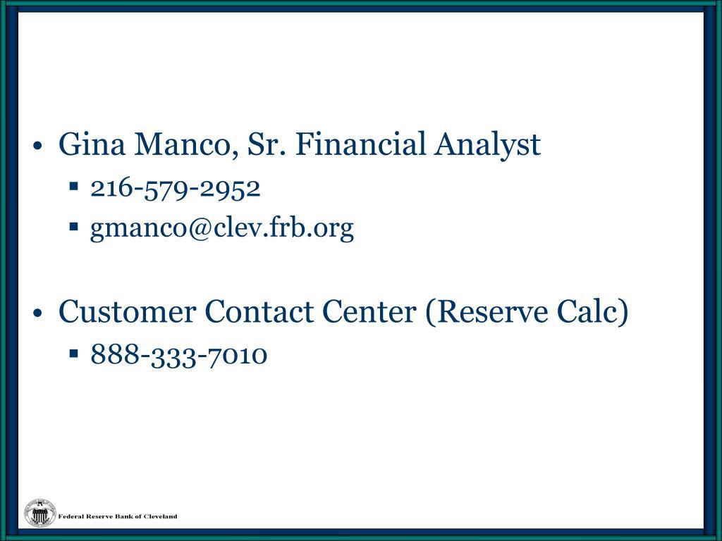 Gina Manco, Sr. Financial Analyst
