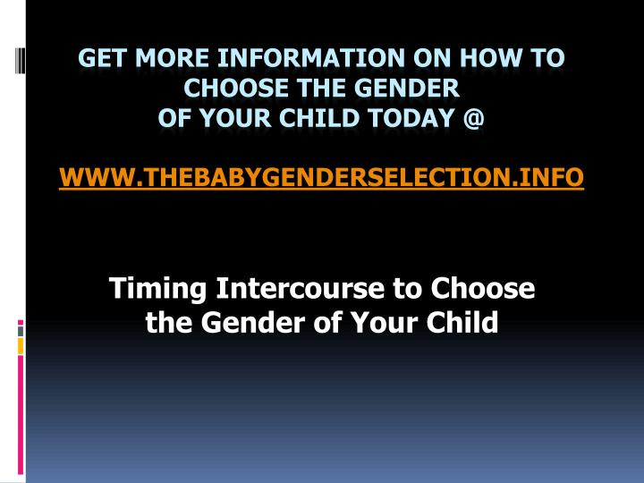 Timing intercourse to choose the gender of your child l.jpg