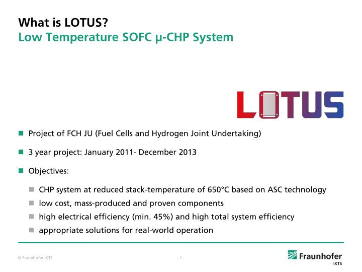 What is lotus low temperature sofc chp system