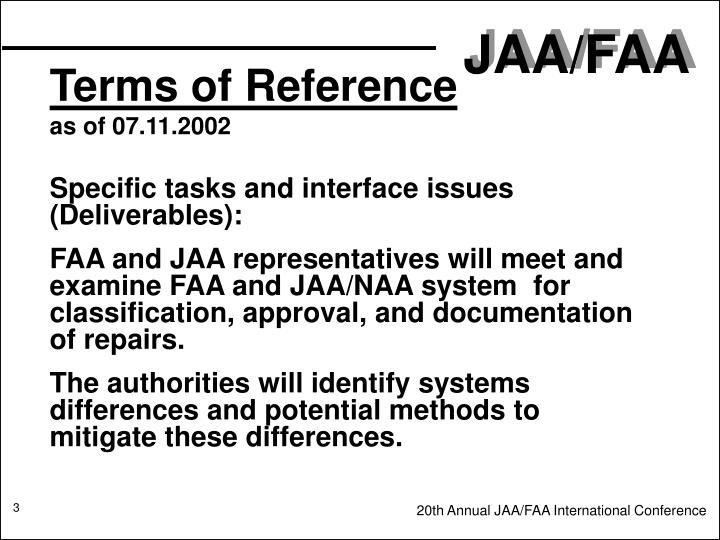 Terms of reference as of 07 11 2002