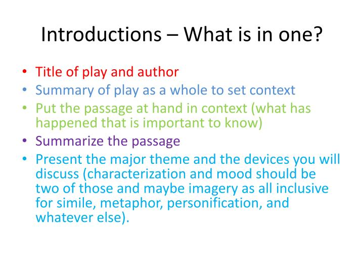 Introductions what is in one