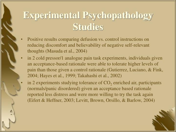 Experimental Psychopathology Studies