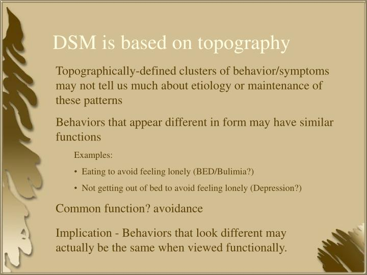DSM is based on topography