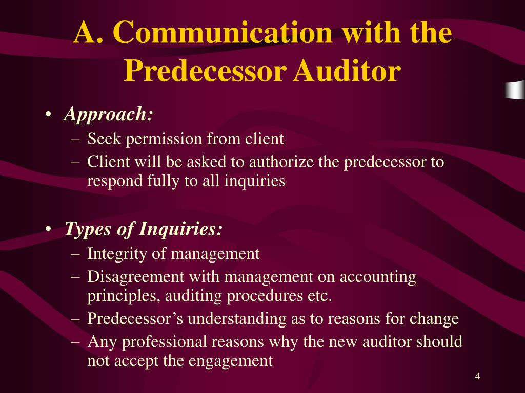 A. Communication with the Predecessor Auditor