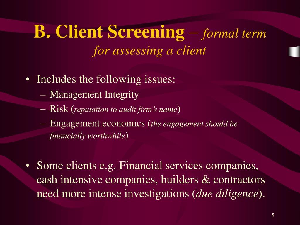 B. Client Screening