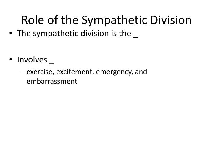 Role of the Sympathetic Division