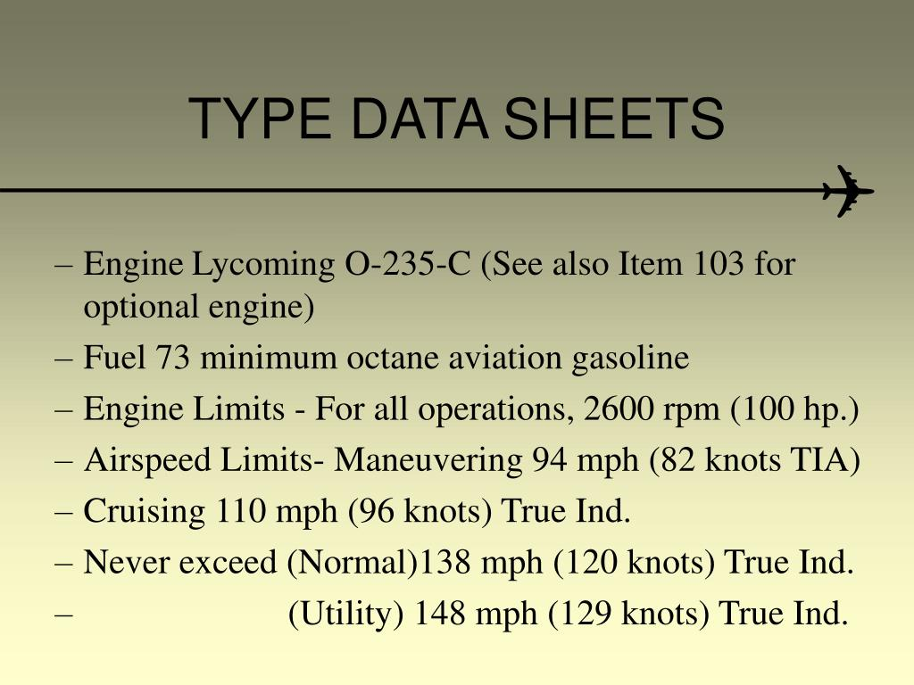 TYPE DATA SHEETS