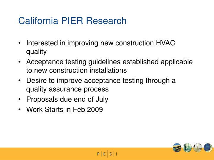 California PIER Research