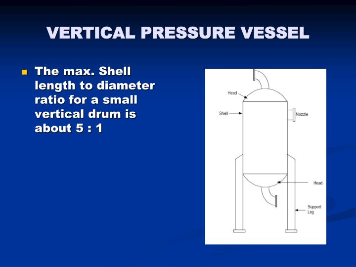 The max. Shell length to diameter ratio for a small vertical drum is about 5 : 1