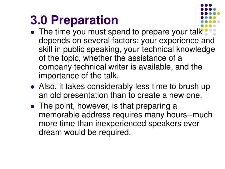 3.0 Preparation