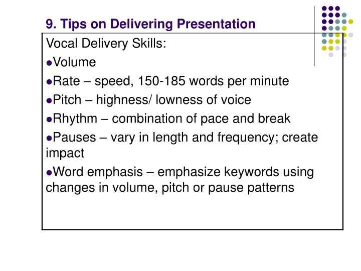 9. Tips on Delivering Presentation