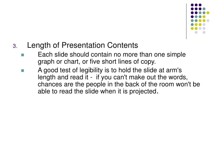 Length of Presentation Contents