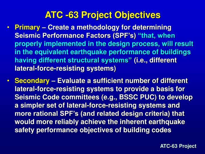 ATC -63 Project Objectives