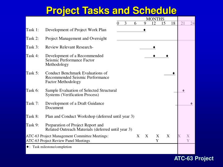 Project Tasks and Schedule