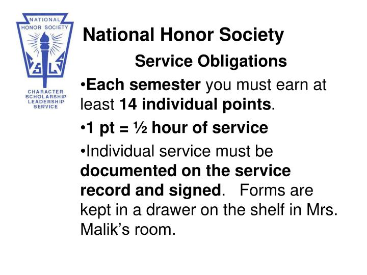 Service Obligations