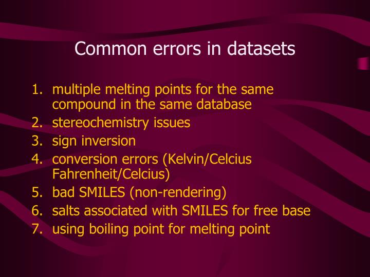 Common errors in datasets