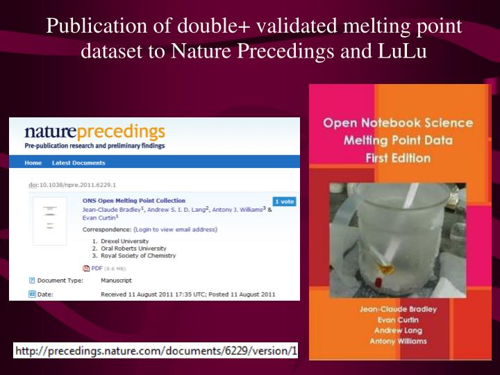 Publication of double+ validated melting point dataset to Nature