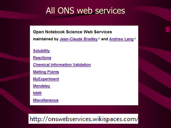 All ONS web services