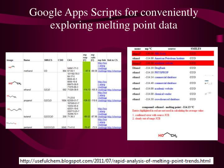 Google Apps Scripts for conveniently exploring melting point data