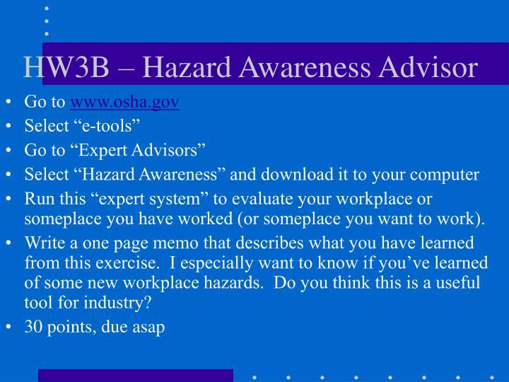 HW3B – Hazard Awareness Advisor