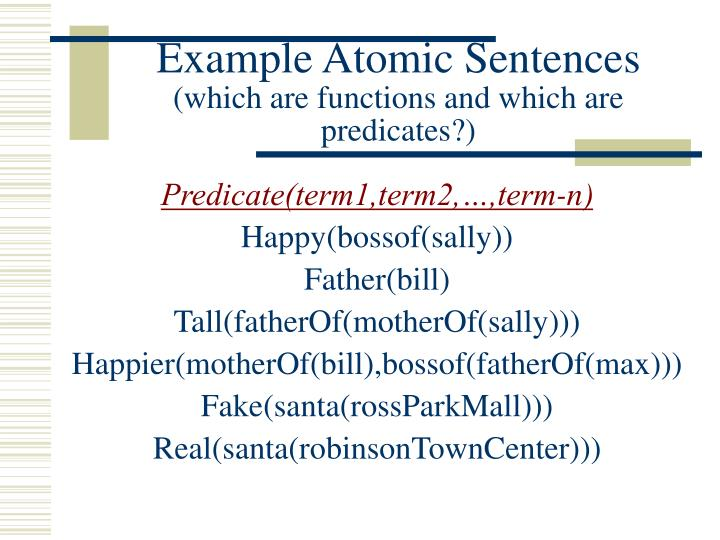 Example Atomic Sentences
