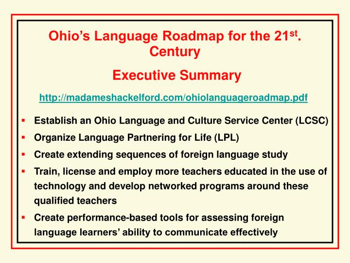 Ohio's Language Roadmap for the 21