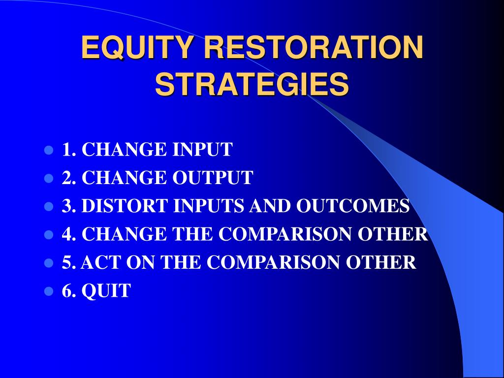 EQUITY RESTORATION STRATEGIES