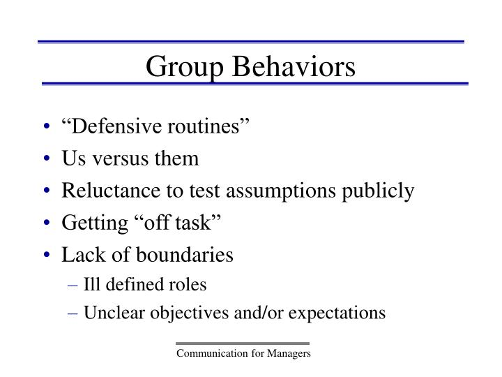 Group Behaviors