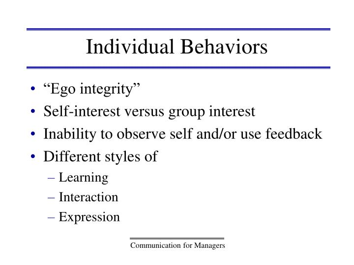 Individual Behaviors