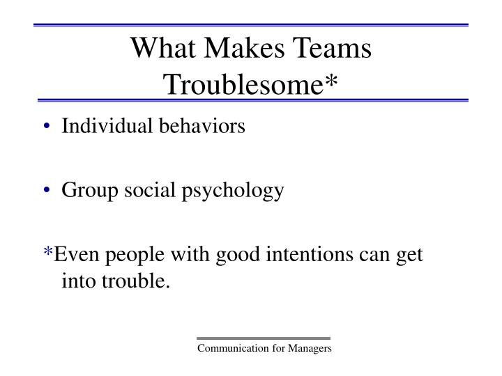 What Makes Teams Troublesome*