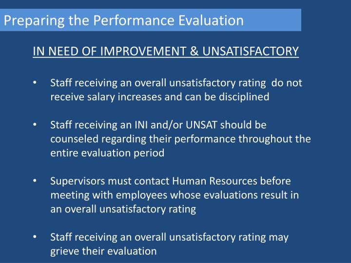 Preparing the Performance Evaluation