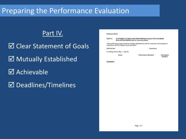 Preparing the Performance Evaluation