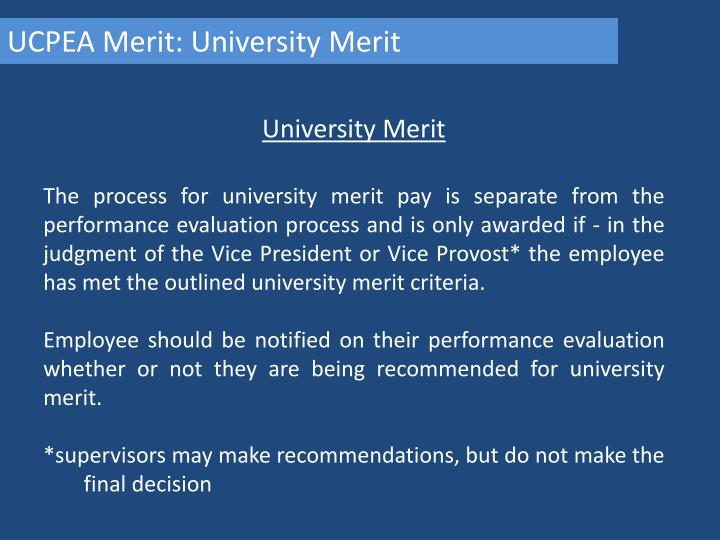UCPEA Merit: University Merit