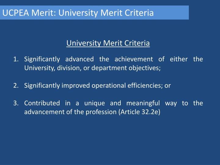 UCPEA Merit: University Merit Criteria