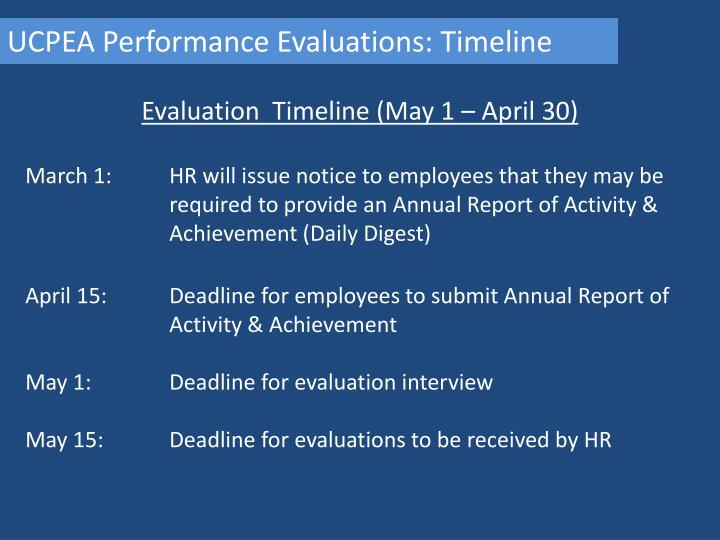 UCPEA Performance Evaluations: Timeline