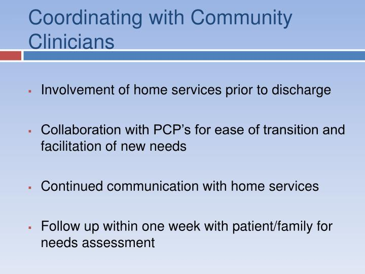 Coordinating with Community Clinicians