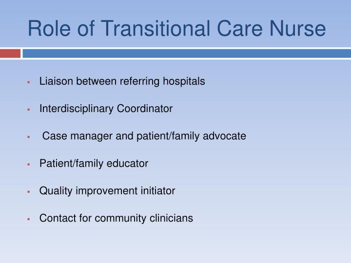 Role of Transitional Care Nurse