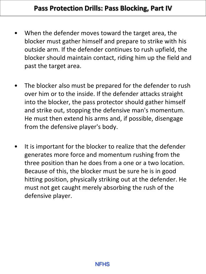 Pass Protection Drills: Pass Blocking, Part IV