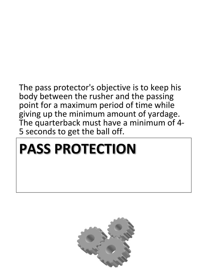 The pass protector's objective is to keep his body between the rusher and the passing point for a maximum period of time while giving up the minimum amount of yardage. The quarterback must have a minimum of 4-5 seconds to get the ball off.