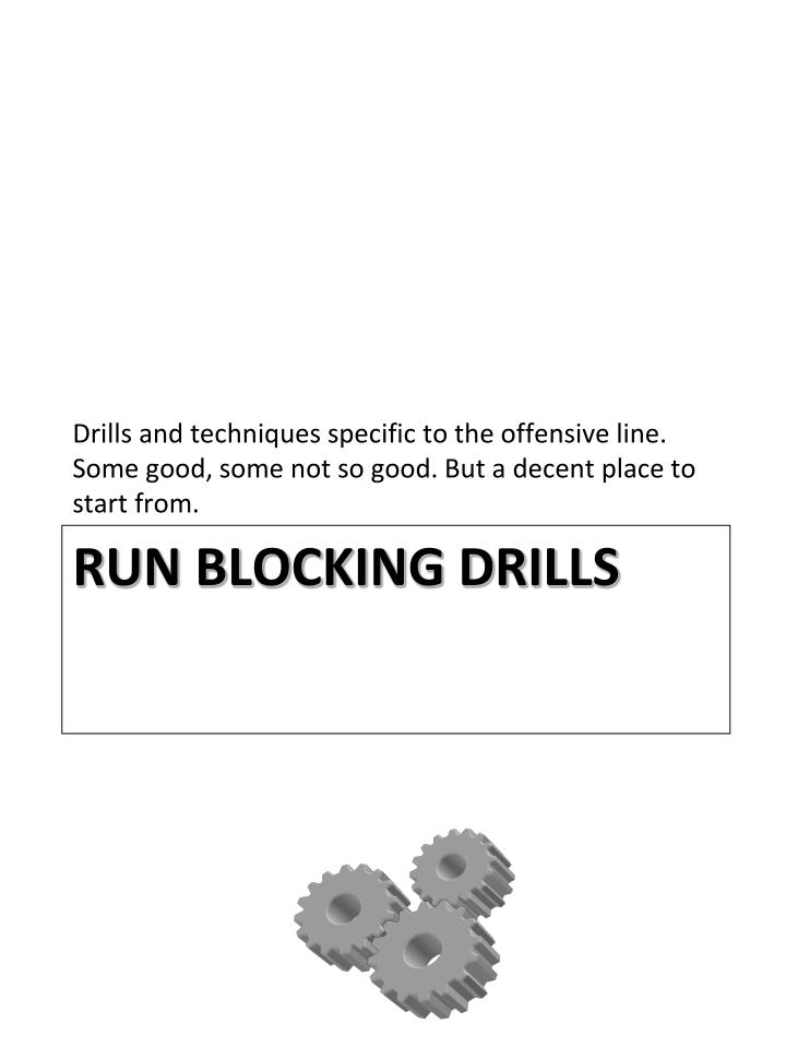 Drills and techniques specific to the offensive line. Some good, some not so good. But a decent place to start from.