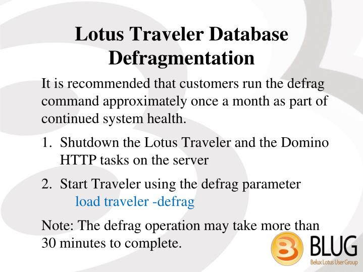 Lotus Traveler Database Defragmentation