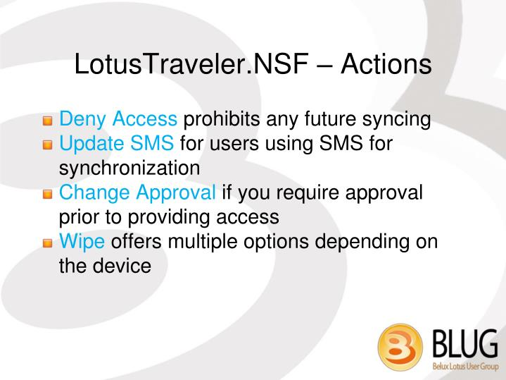 LotusTraveler.NSF – Actions